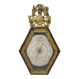 18th Century French Louis XVI Carved Gold Leaf Barometer