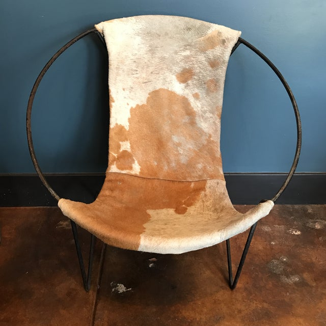 Mid-Century Cowhide Sling Hoop Chairs - Image 7 of 10