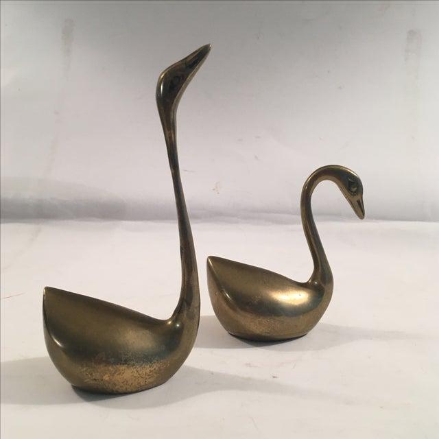 Image of Vintage Brass Swan Figurines