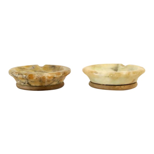 Alabaster & Wood Ashtrays - Pair - Image 1 of 6