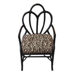 Black Rattan Zebra Pattern Fabric Chair
