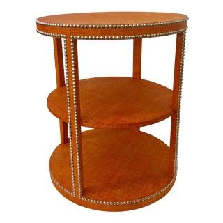 Raffia Nailhead Round Tiered Side Table