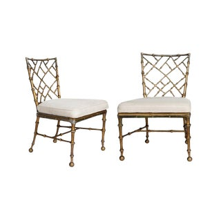 Rare Vintage Brass Bamboo Chippendale Chairs - a Pair