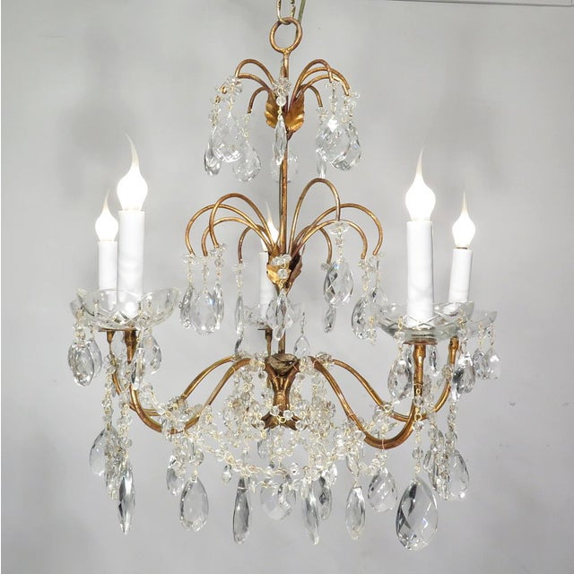 Vintage Chandelier Gold Fixture Dripping Crystals - Image 2 of 6