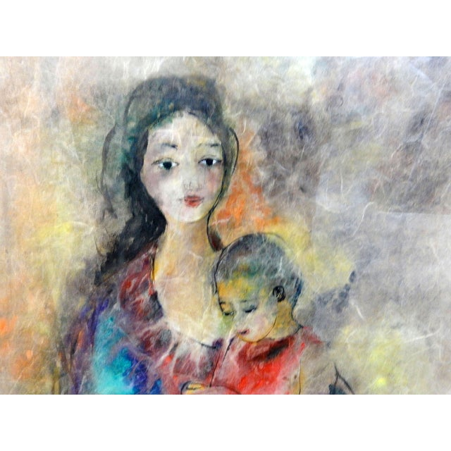 Mother with Child Painting with Bamboo Frame - Image 2 of 7