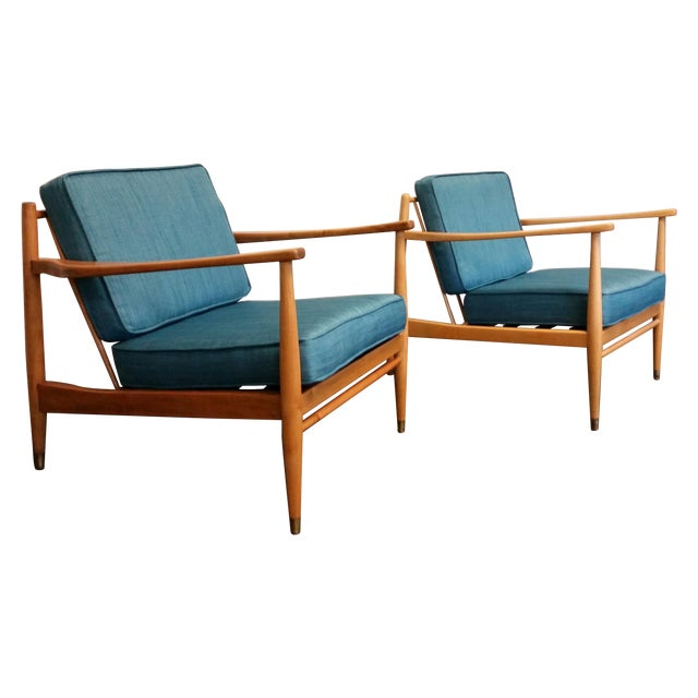 Baumritter Styled Mid-Century Lounge Chairs - Pair - Image 1 of 8
