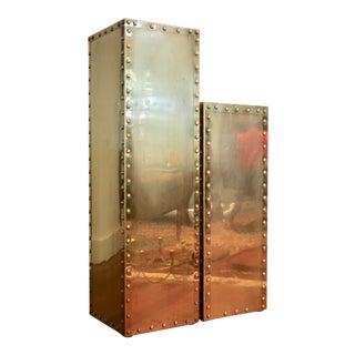 Sarreid-Style Brass Studded Pedestals - A Pair