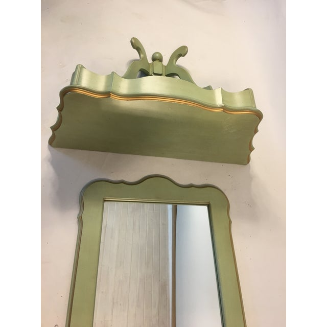 Shabby Mint Green Foyer Demilune Table Wall Shelf & Mirror - A Pair - Image 6 of 9
