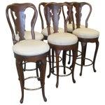 Image of Italian Wood & Leather Barstools - Set of 6