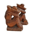 Image of Mexican Hand-Carved Wooden Bookends - A Pair