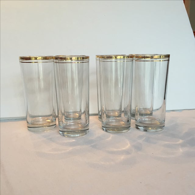 Image of Gold Trimmed Glasses - Set of 7