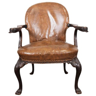 English Oak and Leather Arm Chair