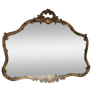 French Rococo Gilded Wood Acanthus Mirror