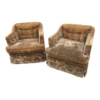 Mid-Century Gold Crushed Velvet Club Chairs - A Pair