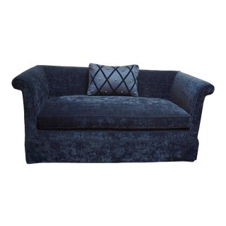 Blue Velvet Tuxedo Sofa by Susanne Hollis