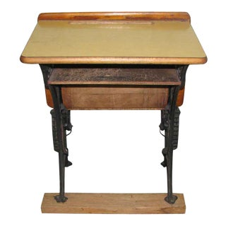 Antique School Desk with Iron Legs
