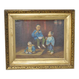 "1890s Frederick Bauer ""Chinese Children"" Original Oil Painting"