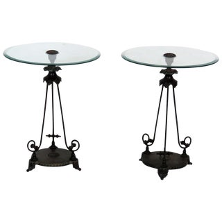 Regency Style Glass Top Metal Side Tables- A Pair
