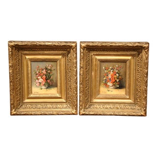 Pair of 19th Century Framed Still Life Flowers Paintings Signed P. Tall