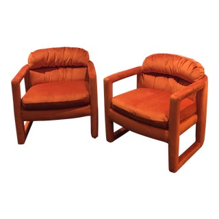 Milo Baughman for Drexel Heritage Orange Lounge Chairs - A Pair