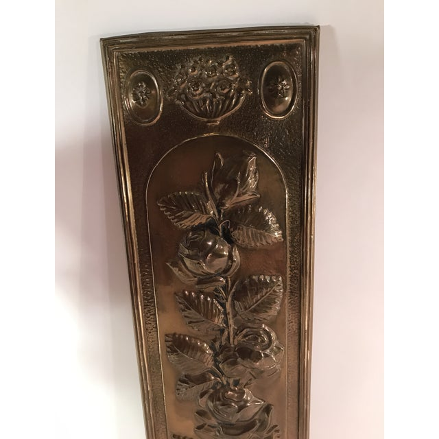 Mid-Century Modern Brass Embossed Panel with Floral Design - Image 3 of 3