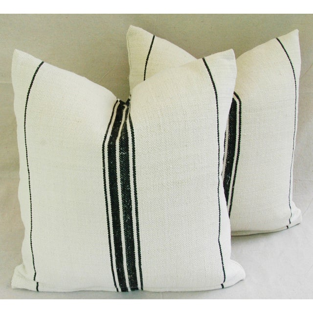 French Black Stripe Grain Sack Pillows - Pair - Image 2 of 8