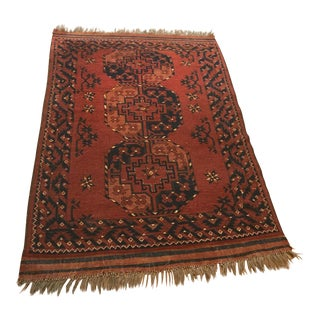 Red & Blue Persian Rug - 3′2″ × 5′