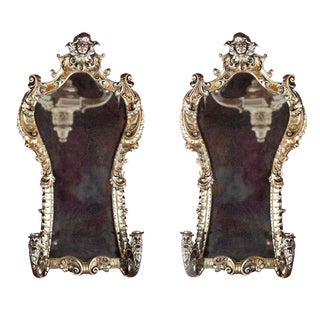 French Rococo Style Mirrored Sconces - A Pair