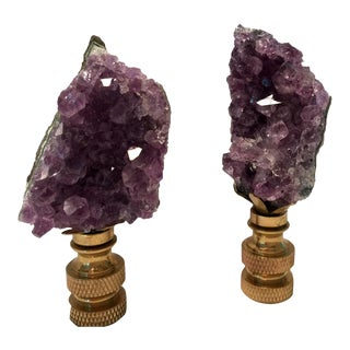 Amethyst Quartz Lamp Finials - A Pair