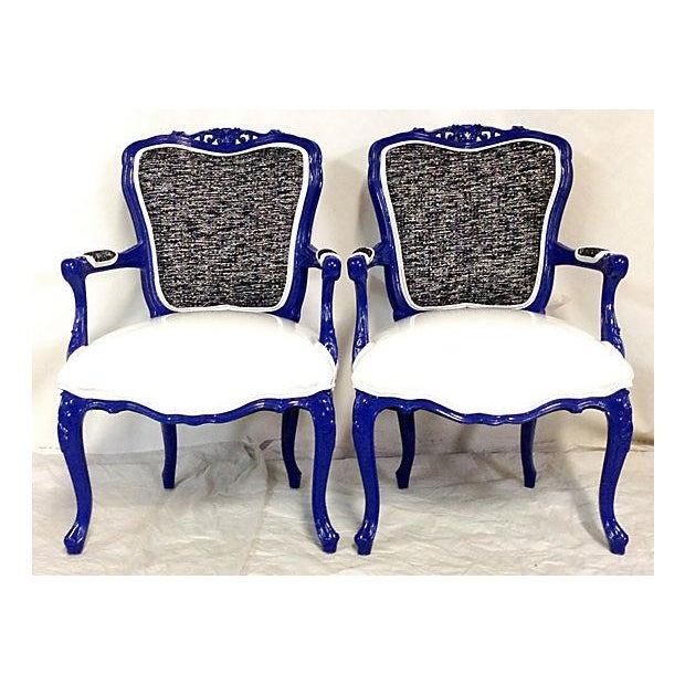 Vintage French-Style Lacquer Armchairs - Pair - Image 2 of 7
