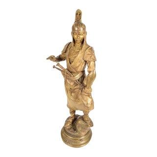 Alfred Barye -Tartare Mandchou-19th c. Gilt Bronze Sculpture of a Manchu Warrior