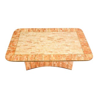 Maitland-Smith Tessellated Stone and Brass Mid-Century Modern Coffee Table