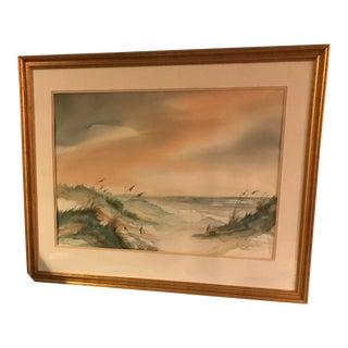 Margaret Glidewell Pulliam Original Coastal Landscape Watercolor