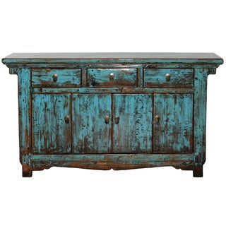 Antique Chinese Rustic Turquoise Credenza