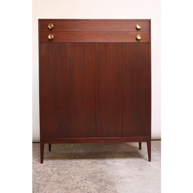 Midcentury Walnut and Brass Gentleman's Chest after Paul McCobb - Image 9 of 9