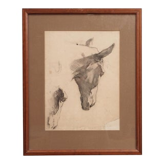 Study of Horse Heads Presented in a String Inlay Frame