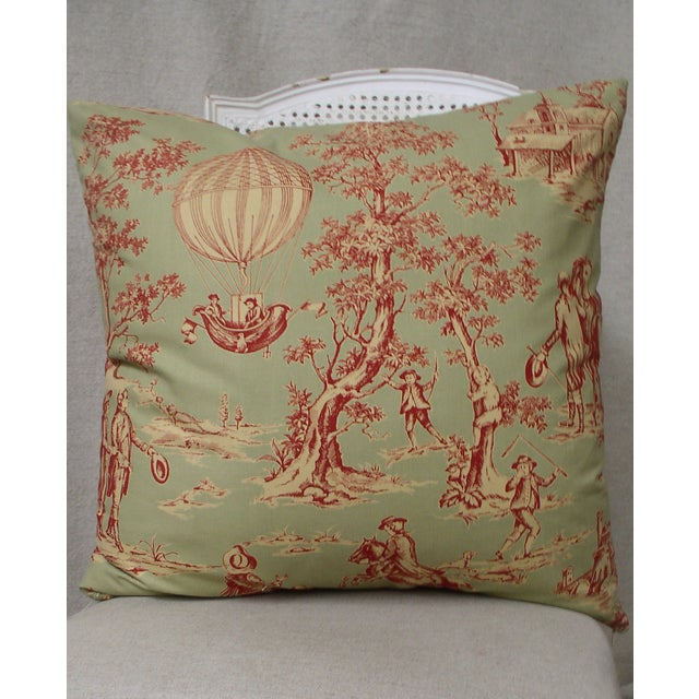Image of Sage Green and Red Toile Pillows - A Pair