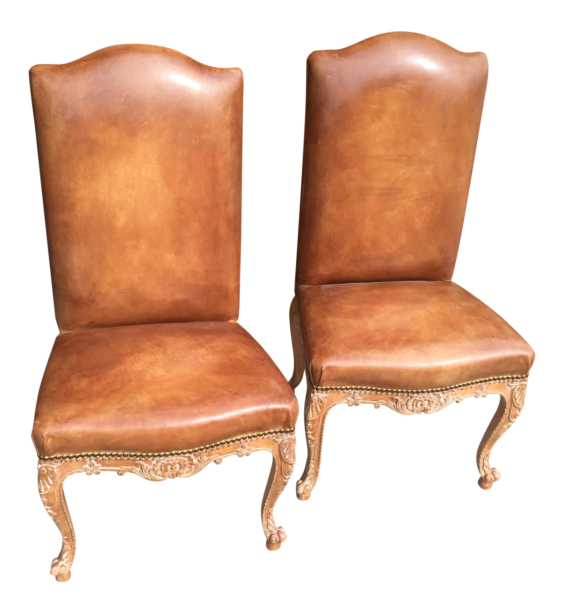 french provincial carved leather side chairs a pair