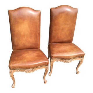 French Provincial Carved Leather Side Chairs - A Pair