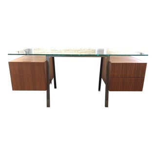 Design Within Reach Glass and Walnut Desk