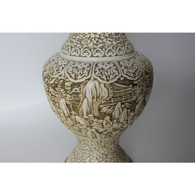 Plaster Relief Table Lamp with Floral Landscape - Image 3 of 7