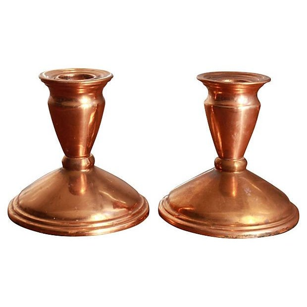 Image of Vintage Copper Candlesticks - A Pair