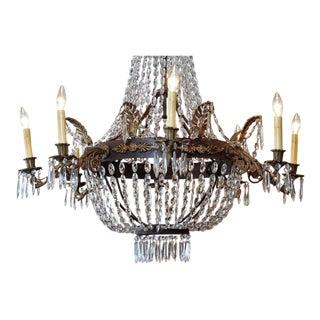 Antique French Empire Crystal and Bronze Eight-Light Chandelier