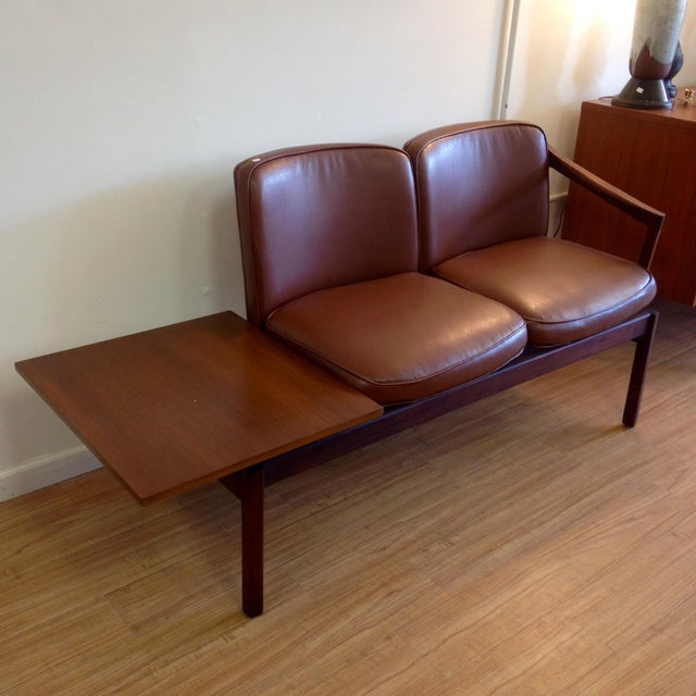 Mid-Century Two-Seater Bench & Built in End Table - Image 4 of 11