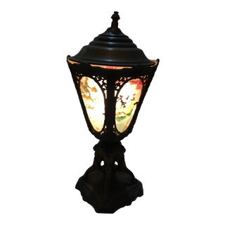 Cast Metal & Painted Glass Paneled Lamp