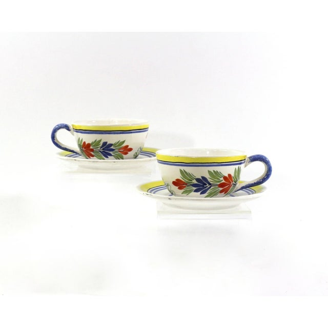 Image of 1930s Vintage Quimper French Teacups - A Pair
