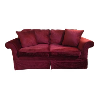 Laura Ashley Red Velvet Loveseat Sofa