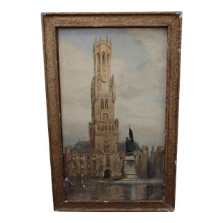 Small Antique French Watercolor Painting in Gilt Frame