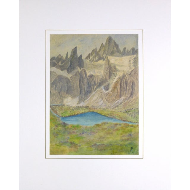Vintage Landscape Watercolor of Jagged Peaks, 1951 - Image 3 of 3