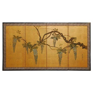 Japanese Four Panel Byobu Screen Wisteria on Gold Leaf